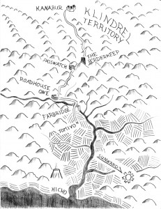 Map of the Redwood Valley and neighboring territory for The Klindrel Invasion. Illustration by Jason A. Holt.