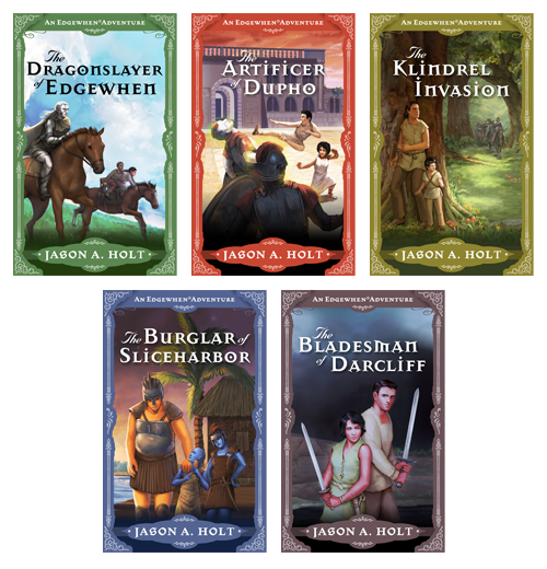Covers of the 5 Edgewhen fantasy adventure novels.